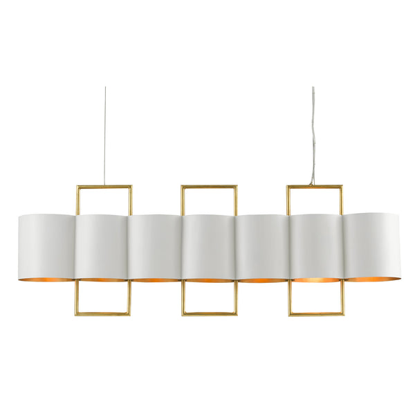 Currey and Company 9000-0633 Chaunce Rectangular Chandelier in Painted Gesso White/Contemporary Gold Leaf