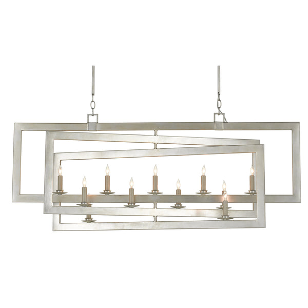 Currey and Company 9000-0634 Middleton Rectangular Silver Chandelier in Contemporary Silver Leaf