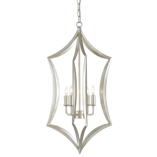 Currey and Company 9000-0635 Obelia Lantern in Contemporary Silver Leaf