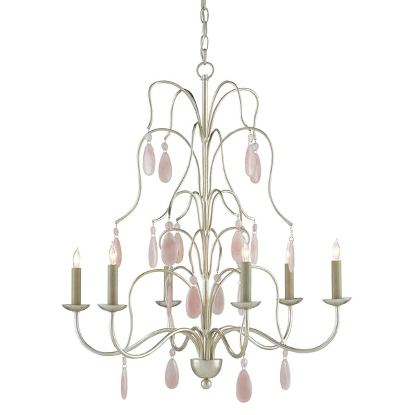 Currey and Company 9000-0636 Primevere Chandelier in Silver Leaf/Natural Pink Quartz