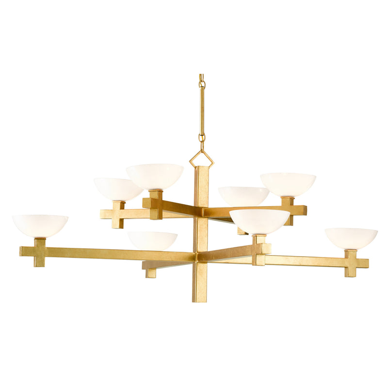 Currey and Company 9000-0642 Poitou Chandelier in White/Contemporary Gold Leaf
