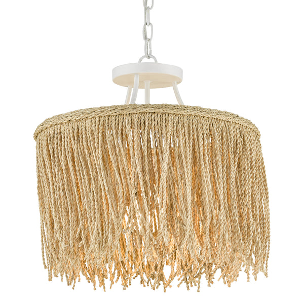 Currey and Company 9000-0647 Samoa Small Pendant in Gesso White/Natural Rope