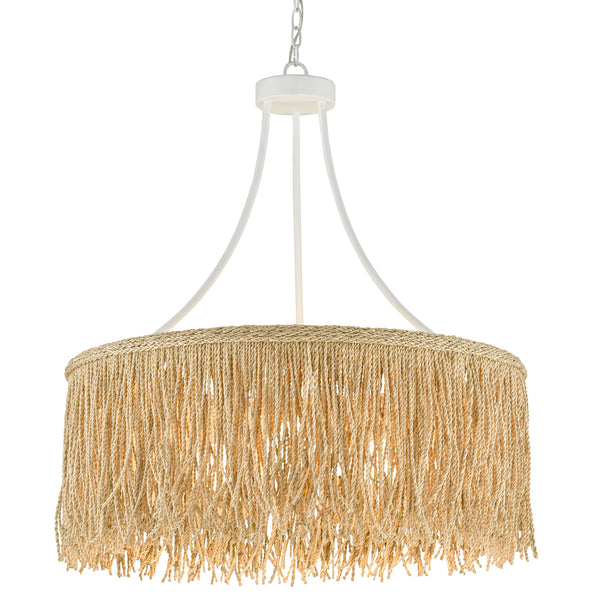 Currey and Company 9000-0648 Samoa Chandelier in Gesso White/Natural Rope
