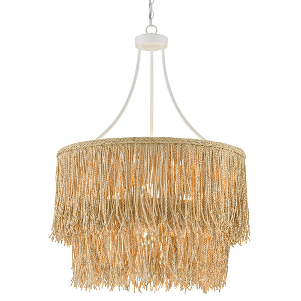 Currey and Company 9000-0649 Samoa Two-Tiered Chandelier in Gesso White/Natural Rope