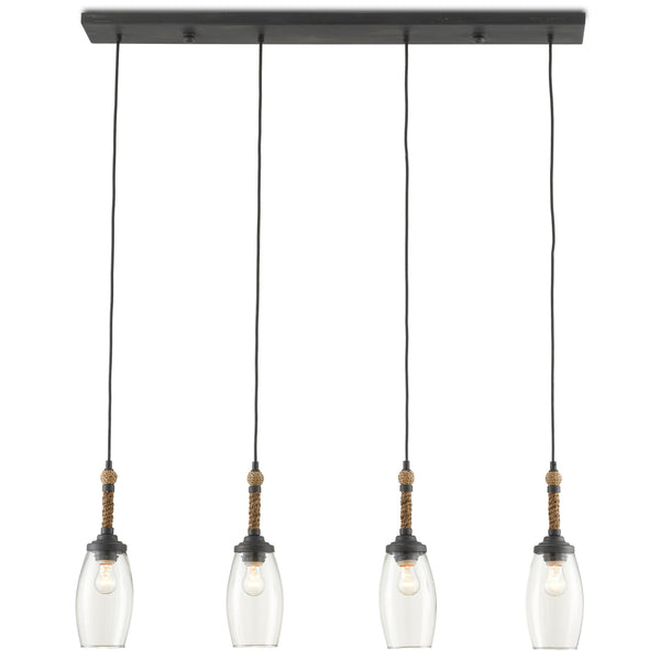 Currey and Company 9000-0651 Hightider Rectangular Chandelier in French Black/Natural Rope