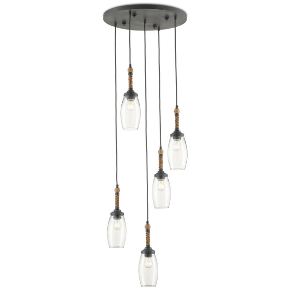 Currey and Company 9000-0652 Hightider Multi-Pendant in French Black/Natural Rope