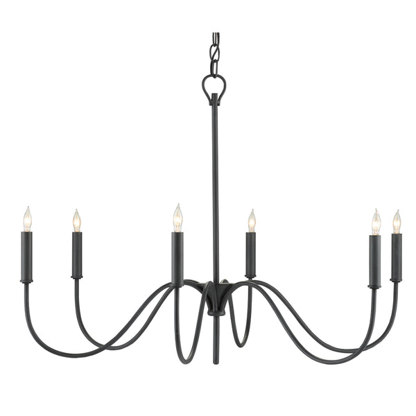 Currey and Company 9000-0653 Tirrell Small Chandelier in Antique Black
