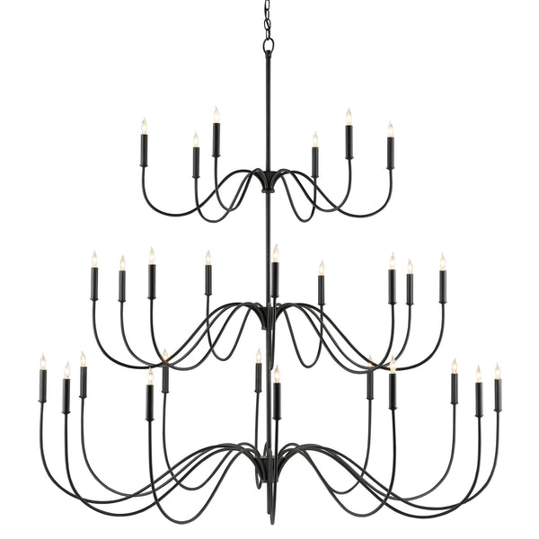 Currey and Company 9000-0655 Tirrell Large Chandelier in Antique Black