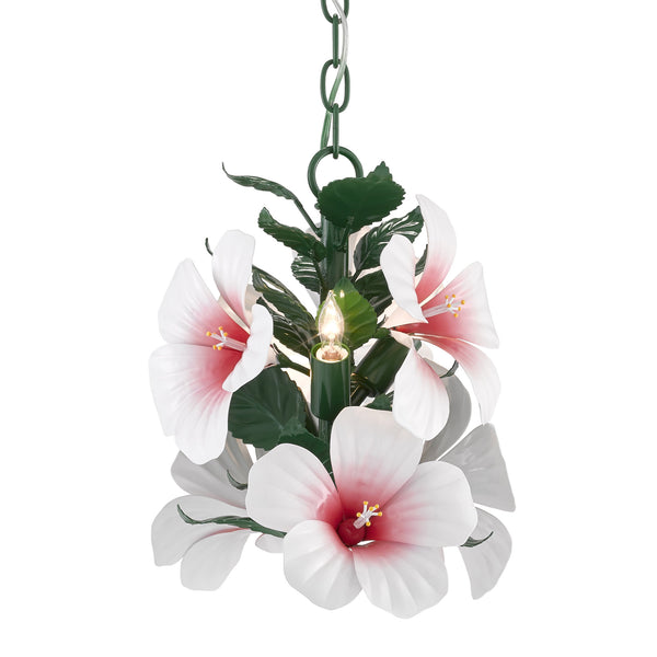 Currey and Company 9000-0657 Sasha Bikoff Collection Hibiscus Petite Chandelier in Glossy White/Pink/Green
