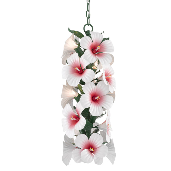 Currey and Company 9000-0658 Sasha Bikoff Collection Hibiscus Pendant in Glossy White/Pink/Green
