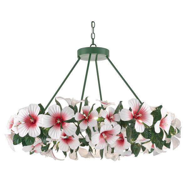 Currey and Company 9000-0659 Sasha Bikoff Collection Hibiscus Chandelier in Glossy White/Pink/Green