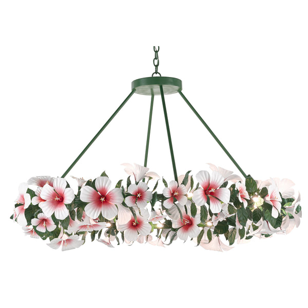 Currey and Company 9000-0660 Sasha Bikoff Collection Hibiscus Large Chandelier in Glossy White/Pink/Green