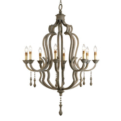 Currey and Company 9010 Waterloo Chandelier in Washed Gray