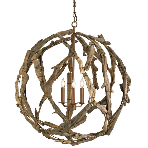 Currey and Company 9078 Driftwood Orb Chandelier in Natural/Washed Driftwood