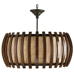 Currey and Company 9096 Dado Pendant in Old Iron/Polished Fruitwood