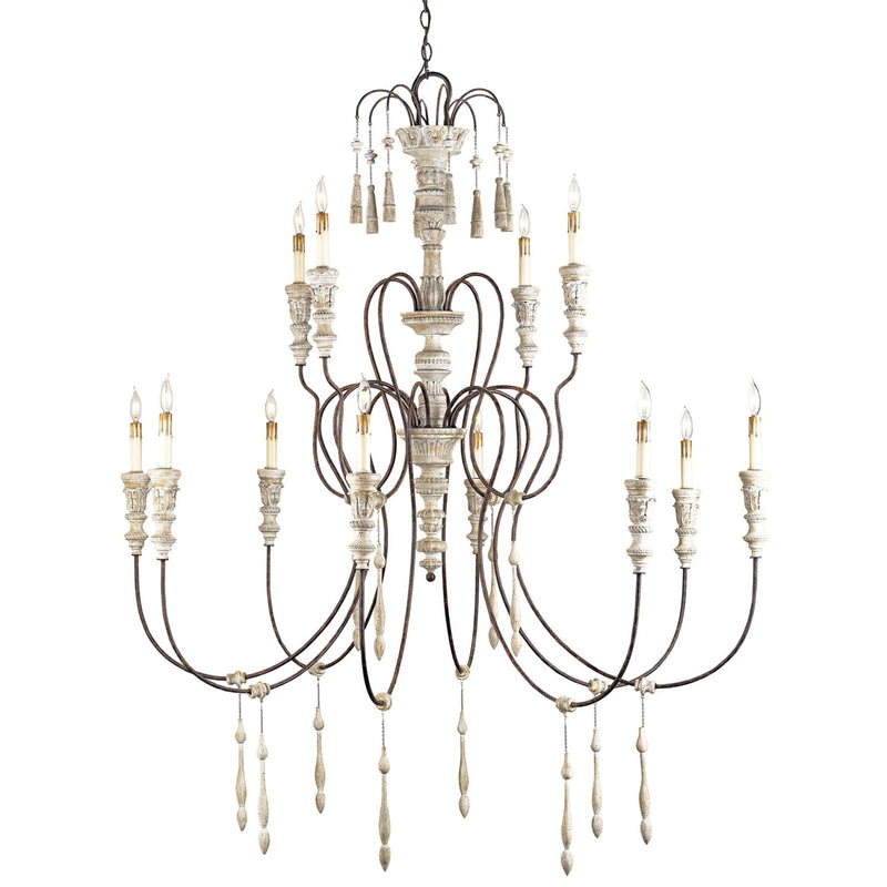 Currey and Company 9117 Hannah Large Chandelier in Stockholm White/Rust