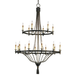 Currey and Company 9174 Priorwood Chandelier in Pyrite Bronze