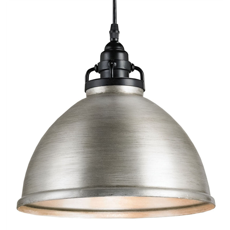 Currey and Company 9207 Ruhl Pendant in Satin Black/Antique Brushed Nickel