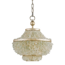 Currey and Company 9223 Shoreline Pendant in Harlow Silver Leaf/Seaglass