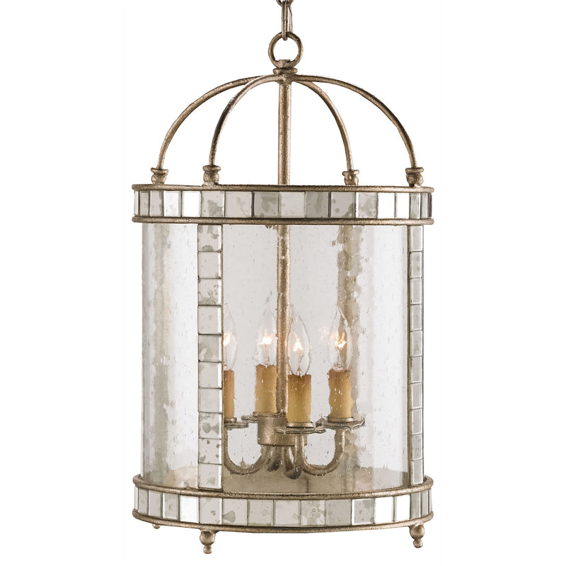 Currey and Company 9229 Corsica Small Lantern in Harlow Silver Leaf/Antique Mirror