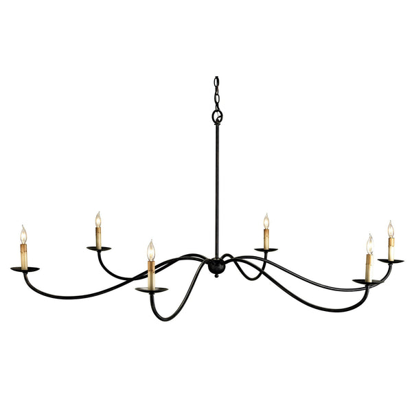 Currey and Company 9267 Saxon Black Chandelier in Zanzibar Black