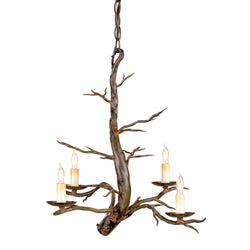 Currey and Company 9307 Treetop Iron Small Chandelier in Old Iron