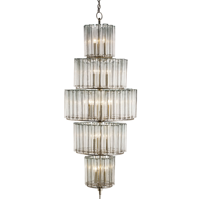 Currey and Company 9311 Bevilacqua Large Chandelier in Silver Leaf