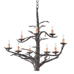 Currey and Company 9327 Treetop Iron Large Chandelier in Old Iron