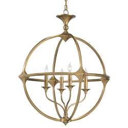 Currey and Company 9346 Bellario Orb Chandelier in Antique Brass