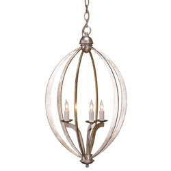 Currey and Company 9482 Bella Luna Silver Small Chandelier in Contemporary Silver Leaf