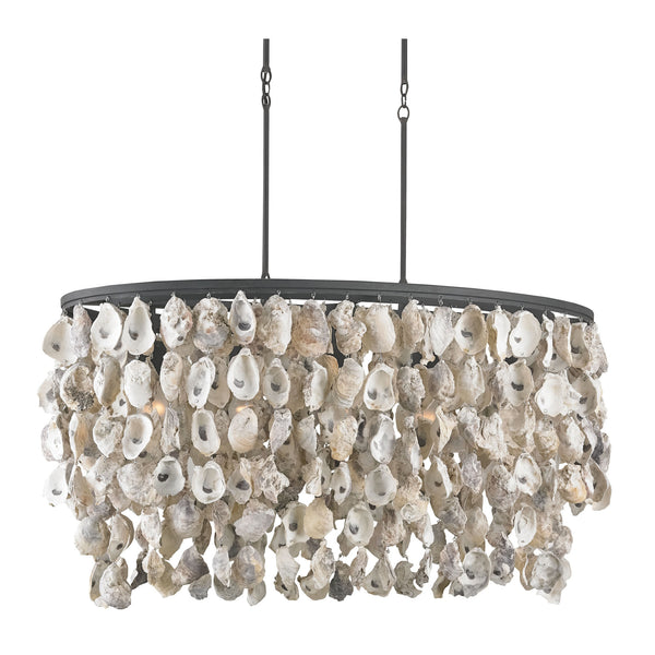 Currey and Company 9492 Stillwater Oval Chandelier in Natural/Blacksmith