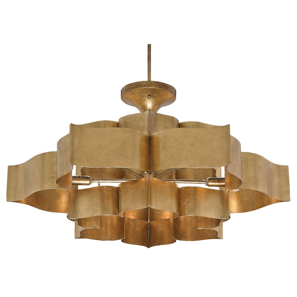 Currey and Company 9494 Grand Lotus Gold Large Chandelier in Antique Gold Leaf