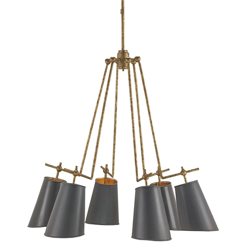 Currey and Company 9503 Jean-Louis Chandelier in Old Brass/Marbella Black/Contemporary Gold Leaf