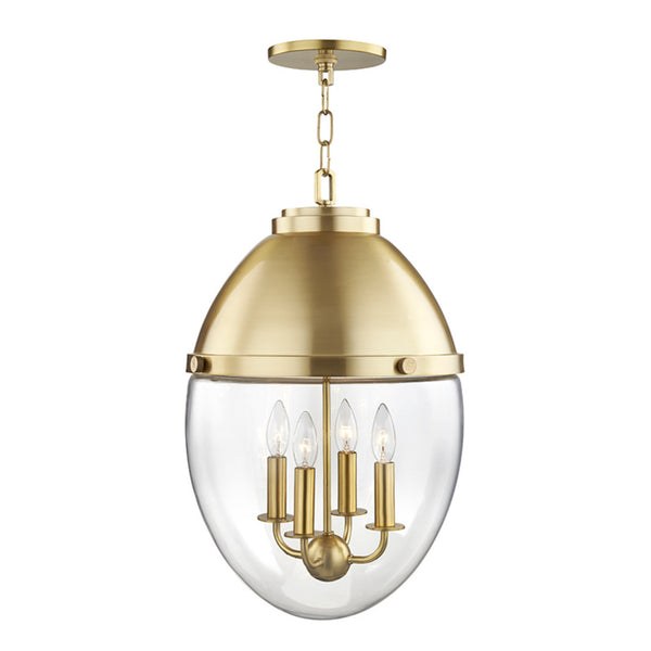 Hudson Valley Lighting 9514-AGB Kennedy 4 Light Pendant in Aged Brass