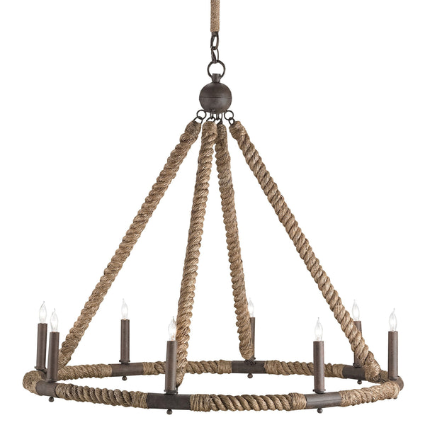 Currey and Company 9536 Bowline Chandelier in Natural/Rust