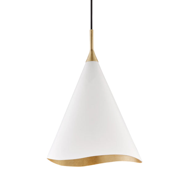 Hudson Valley Lighting 9613-GL/WHT Martini 1 Light Small Pendant in Gold Leaf/Soft Off White Combo
