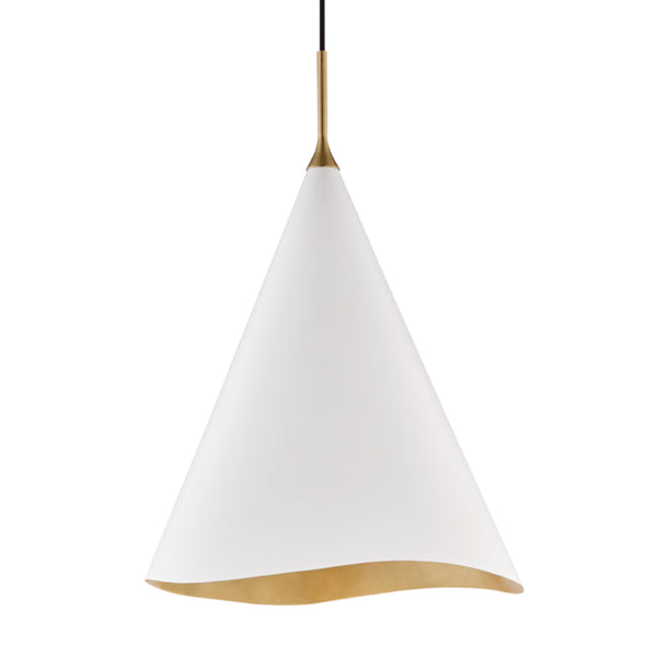 Hudson Valley Lighting 9618-GL/WHT Martini 1 Light Large Pendant in Gold Leaf/Soft Off White Combo