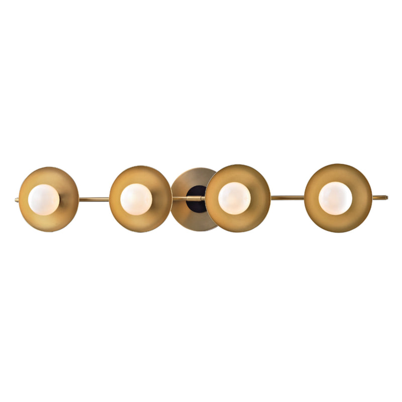 Hudson Valley Lighting 9804-AGB Julien 4 Light Bath Bracket in Aged Brass