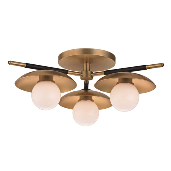 Hudson Valley Lighting 9823-AGB Julien 3 Light Semi Flush in Aged Brass