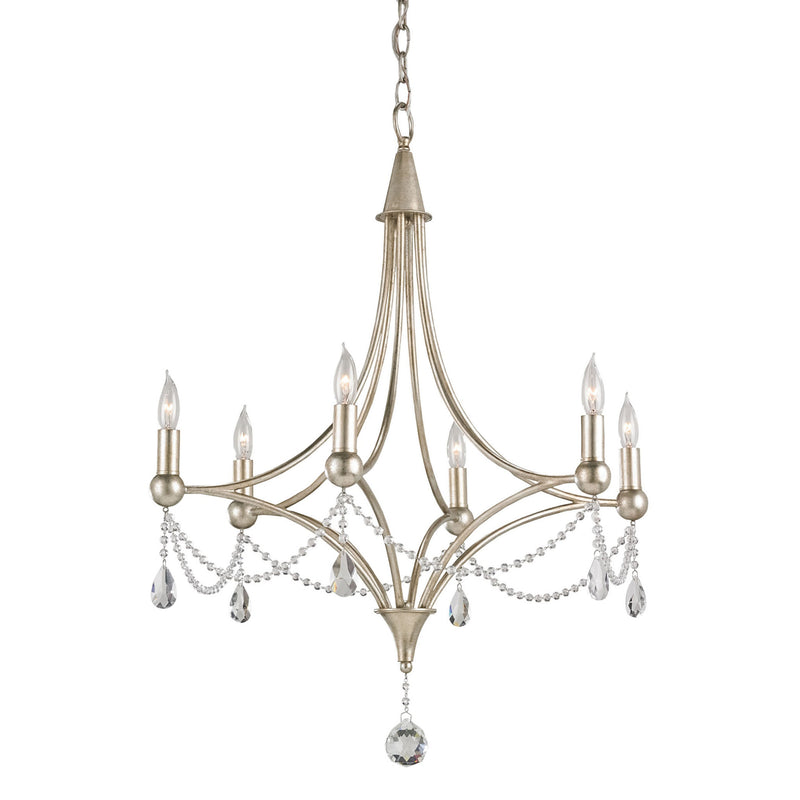Currey and Company 9831 Etiquette Chandelier in Chinois Antique Silver Leaf