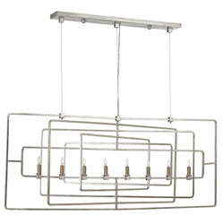 Currey and Company 9836 Metro Silver Rectangular Chandelier in Contemporary Silver Leaf