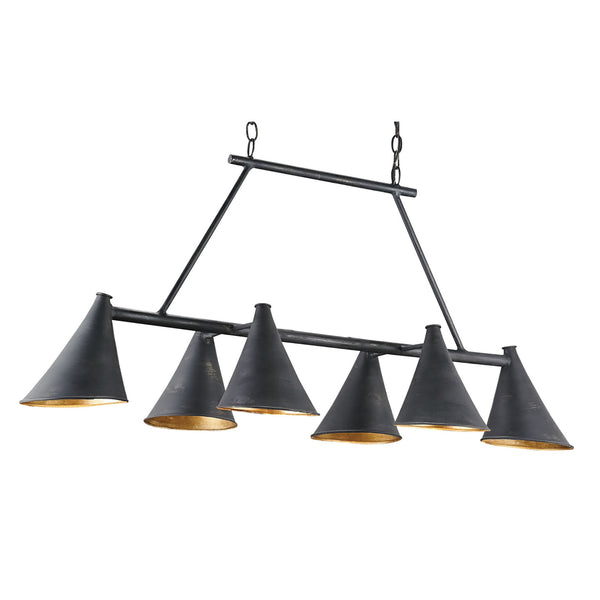 Currey and Company 9841 Culpepper Rectangular Chandelier in French Black/Contemporary Gold Leaf