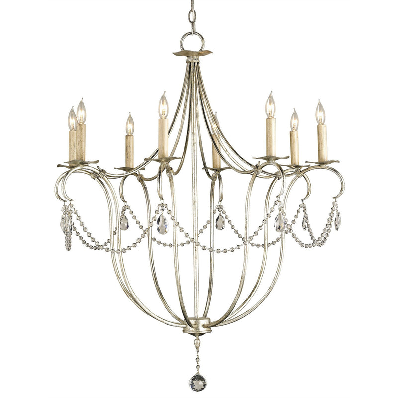Currey and Company 9891 Crystal Lights Silver Large Chandelier in Silver Leaf