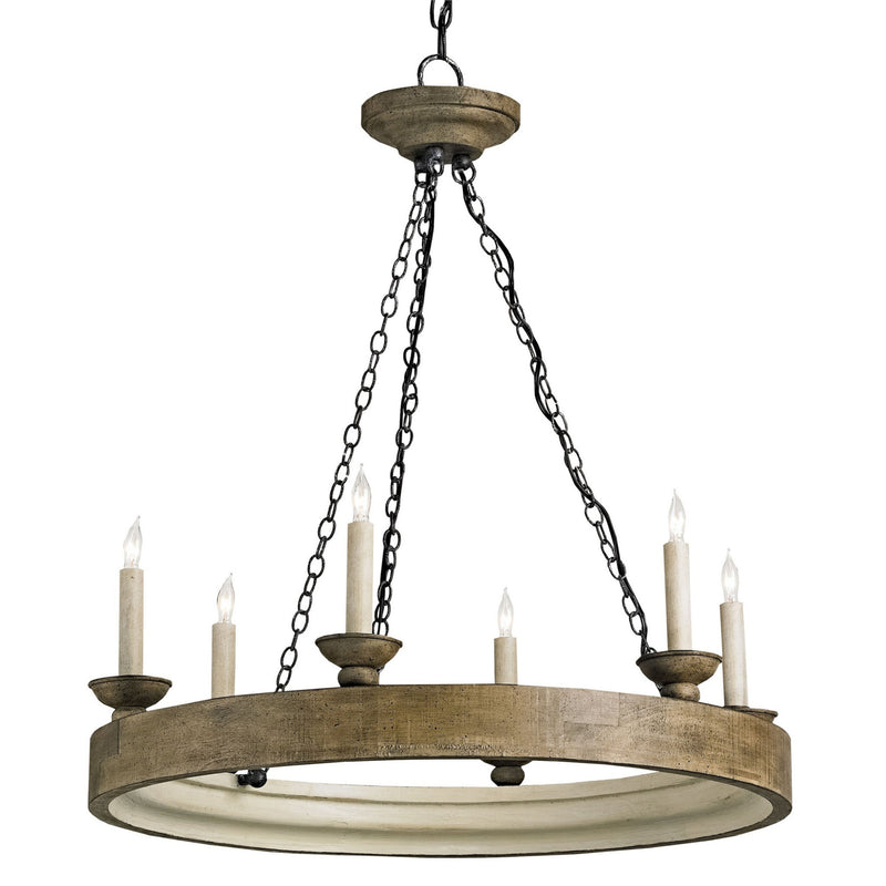 Currey and Company 9972 Beachhouse Chandelier in Smokewood Crackle/London Black