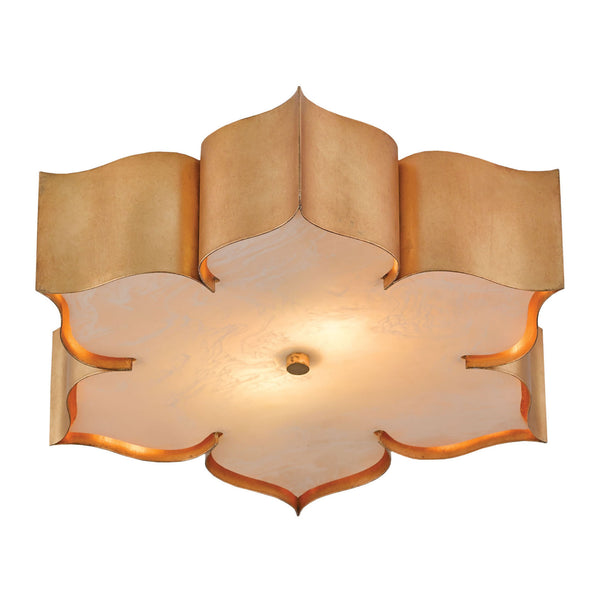 Currey and Company 9999-0010 Grand Lotus Gold Flush Mount in Antique Gold Leaf
