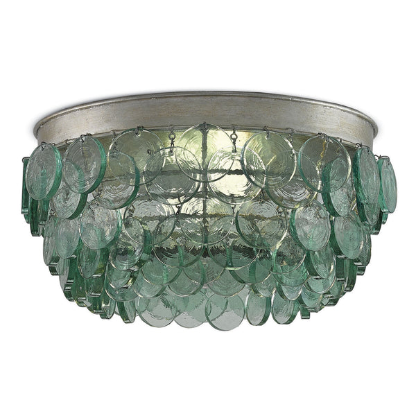 Currey and Company 9999-0013 Braithwell Flush Mount in Silver Leaf