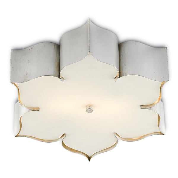 Currey and Company 9999-0042 Grand Lotus Silver Flush Mount in Contemporary Silver Leaf