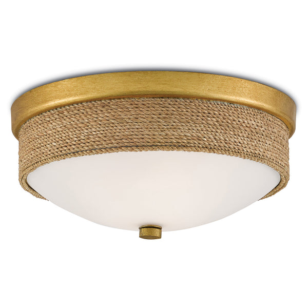 Currey and Company 9999-0044 Hopkins Flush Mount in Natural/Dark Contemporary Gold Leaf