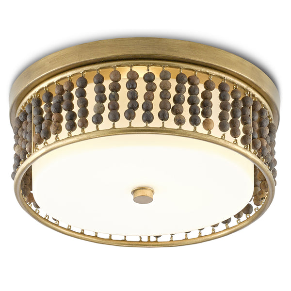 Currey and Company 9999-0047 Ferber Flush Mount in Brass/Natural