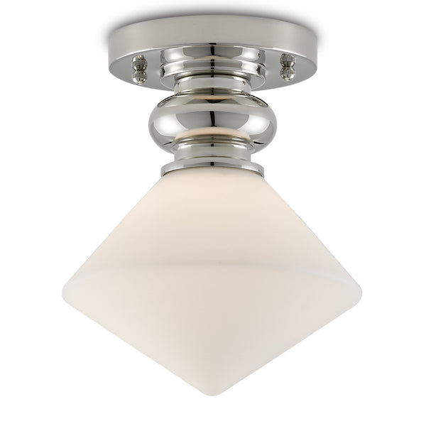Currey and Company 9999-0050 Rycroft Flush Mount in Polished Nickel/White